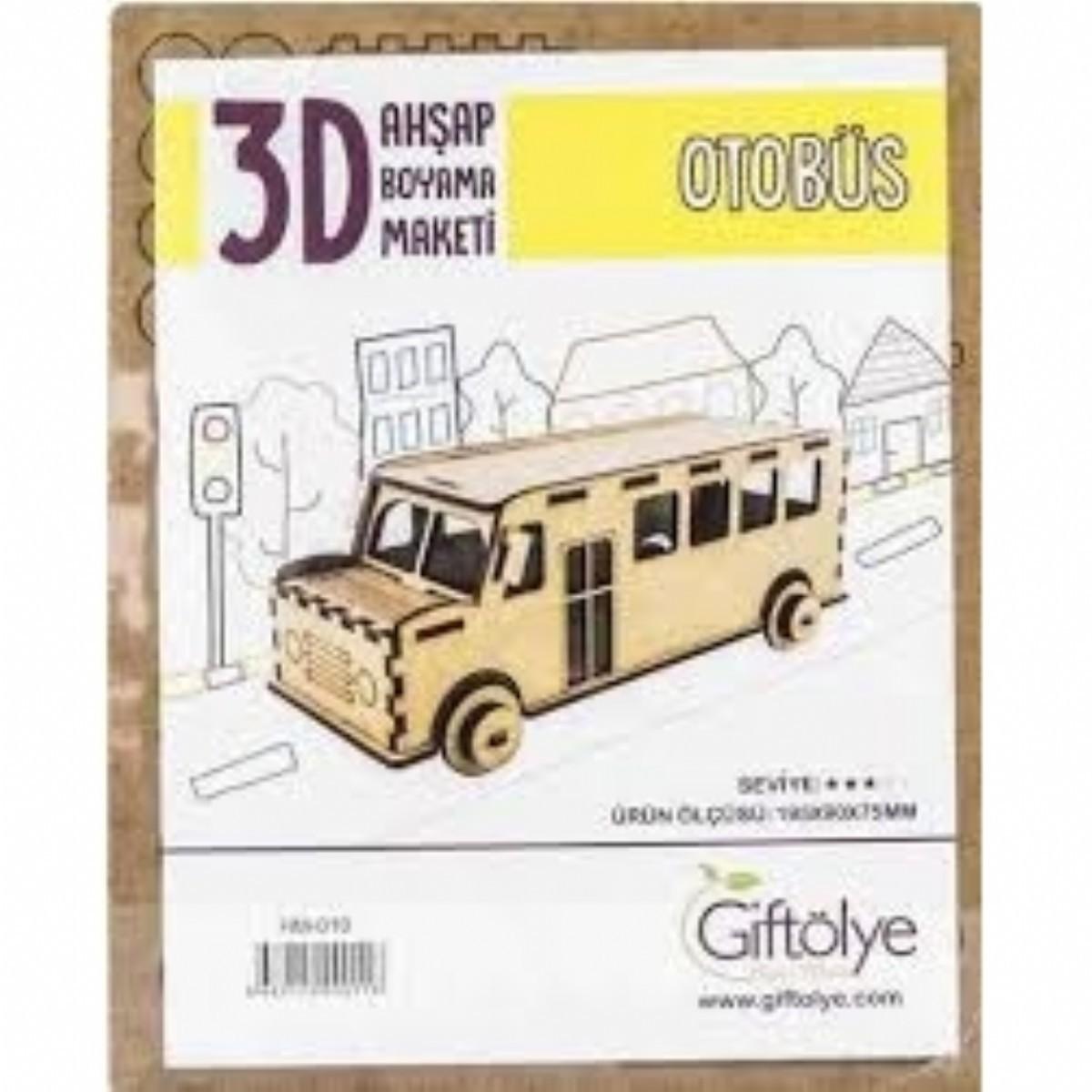 3 D Ahsap Boyama Maketi Otobus Maket Ahsap Boyama Hobi